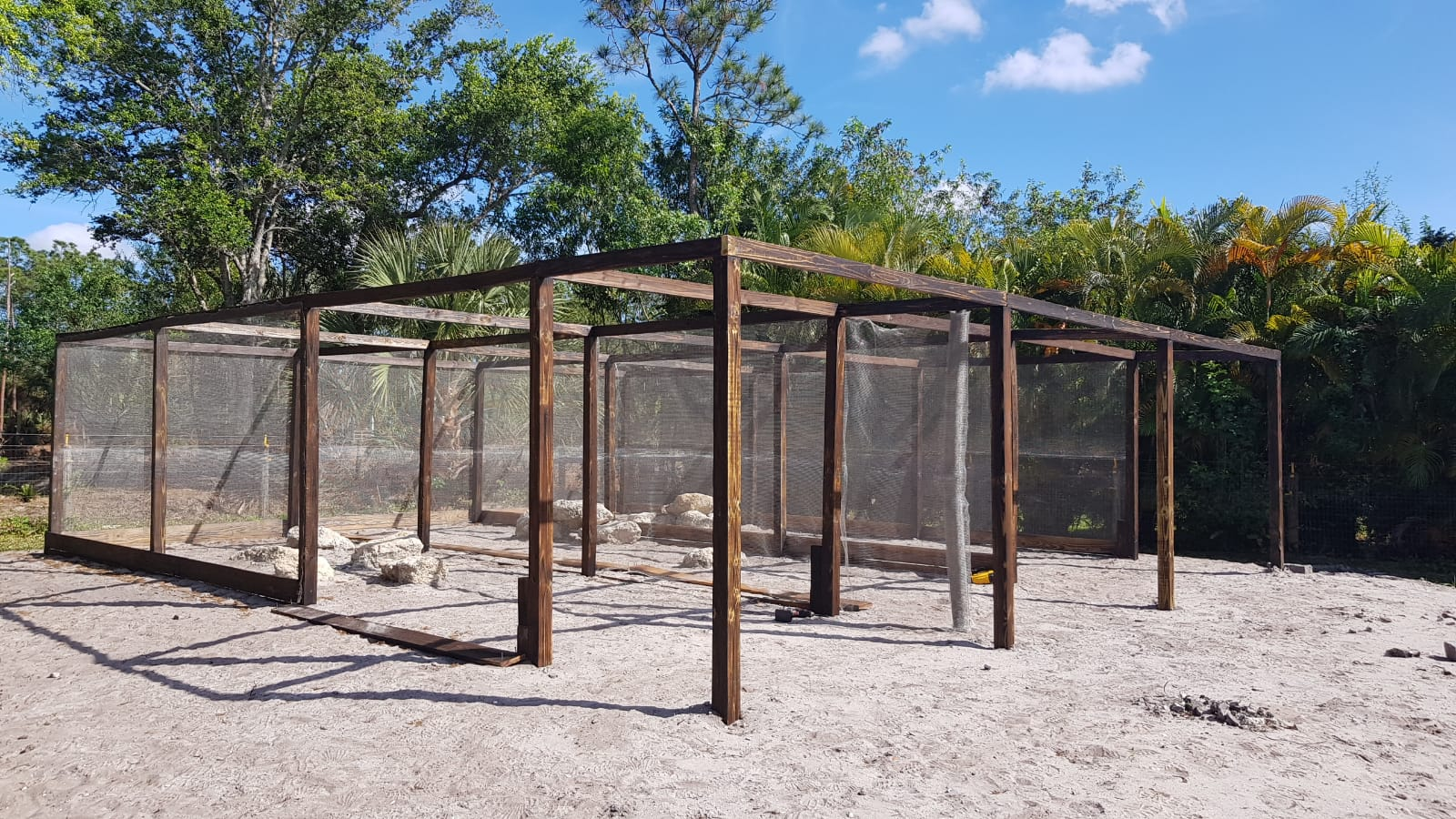 Wooden structure for animal enclosure using ClearMesh